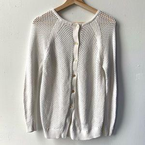Michael Kors button back open knit white sweater S